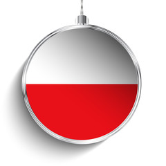 Merry Christmas Silver Ball with Flag Poland