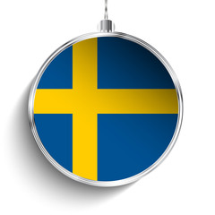 Merry Christmas Silver Ball with Flag Sweden