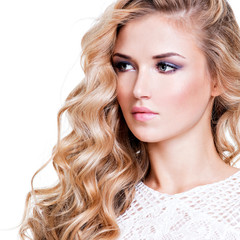 portrait of beautiful woman with  blond  hairs