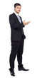 Handsome young businessman making welcome gesture