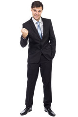 Full length portrait of young business man enjoying success