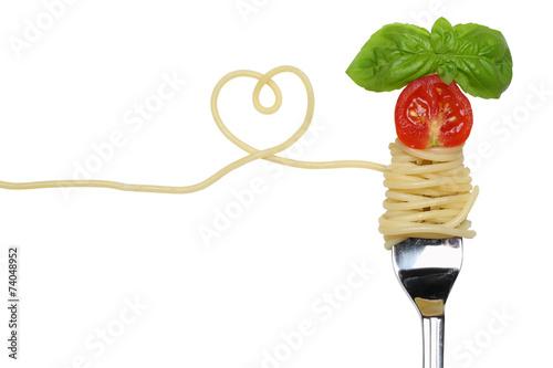 Leinwandbild Motiv Spaghetti Nudeln Pasta Gericht mit Herz auf einer Gabel Thema Li