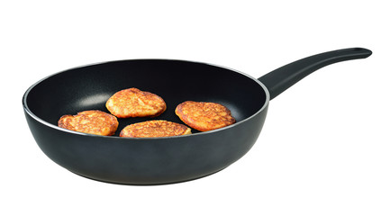 Pancakes in a frying pan