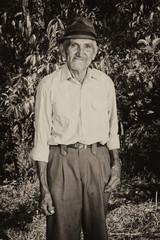 Monochrome portrait of a senior farmer