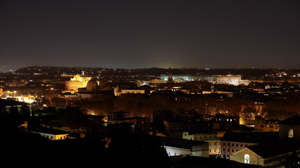 Castle of Holy Angel and the courthouse in Rome at Night, Italy