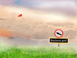 Signs pointing the way to the flag of success and background law