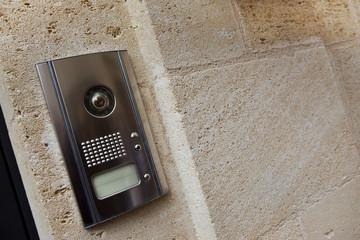 Intercom on a stone wall