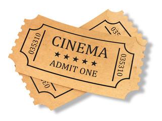 Render of retro cinema tickets on white background