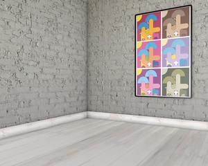 Stanza con pareti di mattoni e poster