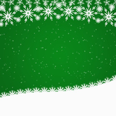 Green Christmas border with snowflakes