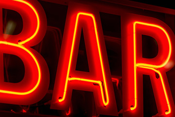 Bar sign in neon lights