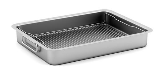 metallic baking dish isolated on white background