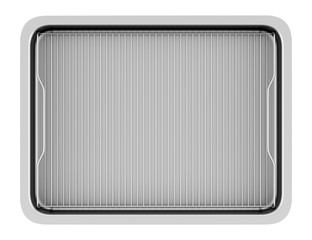 top view of metallic baking dish isolated on white background