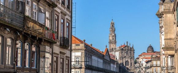 Panoramic of Porto with the Clerigos church and tower