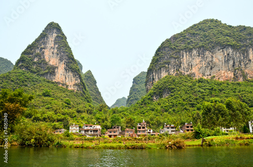 Yulong river with karst mountains near Yangshuo, China