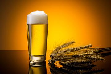 German beer with  ears of corn