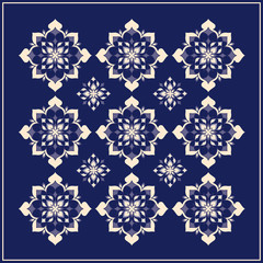 Traditional decor on blue background 002