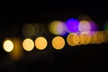 Abstract circular bokeh background of lights in the night