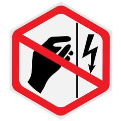 Danger, high, voltage, do not touch, sign, hexagon