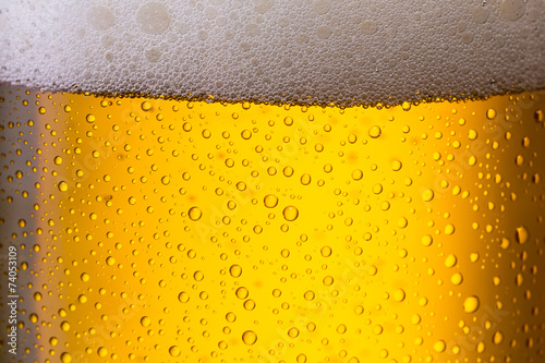 Cold beer with dew