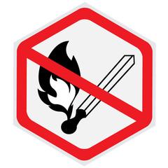 No, open, fire, no smoking, sign, hexagon