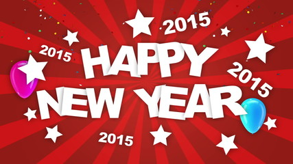 Happy 2015 new year greeting animation.