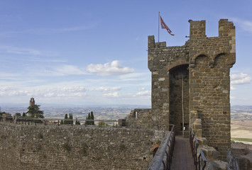 Montalcino Castle tower architectural detail, Italy
