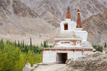 Tall Shanti Stupa in Chemdey monastery, Ladakh, India