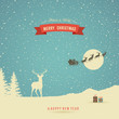 Holiday Card, winter landscape with reindeer and red banner