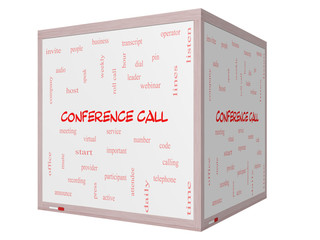Conference Call Word Cloud Concept on a 3D Whiteboard