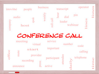 Conference Call Word Cloud Concept on a Whiteboard