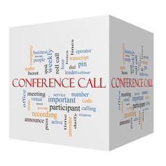 Conference Call 3D cube Word Cloud Concept