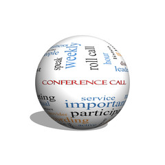 Conference Call 3D sphere Word Cloud Concept