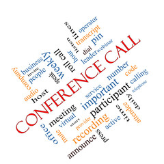 Conference Call Word Cloud Concept Angled