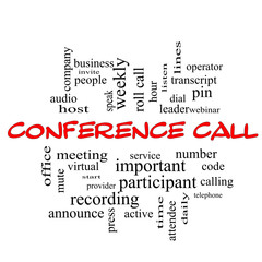 Conference Call Word Cloud Concept in red caps
