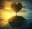 Tree heart in ocean - 74055336
