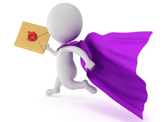 Brave superhero postman with envelope