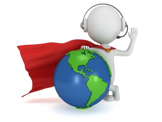 Brave superhero in headpones and world sphere