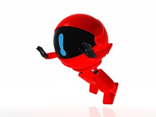 Red robot is falling to the ground