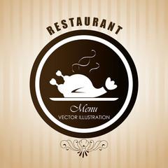 Restaurant design over beige background vector illustration