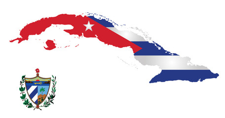 Flag and national emblem of the Republic of Cuba