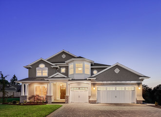 Beautiful New Home Exterior at Twilight