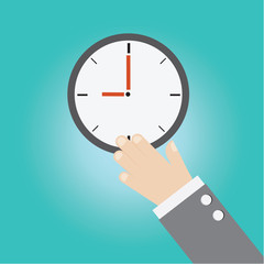 Vector of businessman hand with clock time
