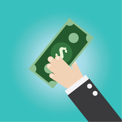 Vector of businessman hand with money,profit