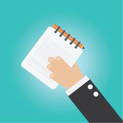 Vector of businessman hand notebook ,pencil