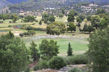Beautiful golf course of Porto Carras Grand Resort.