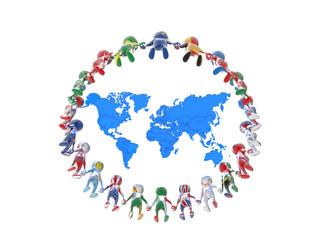 世界地図と繋がる人