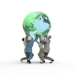 地球を持ち上げるビジネスマン