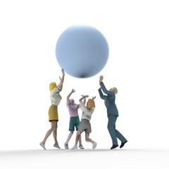 球体を持ち上げる家族