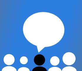 Speech bubbles peoples silhouette